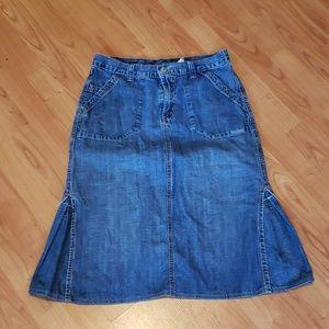 Lucky Brand denim midi jean skirt